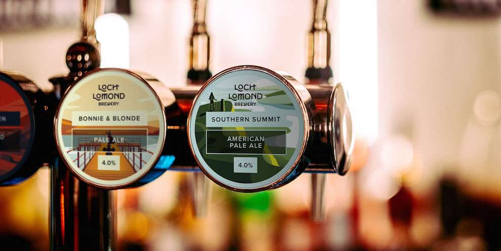 Jack Daly, Closeup of Loch Lomond Pub Pumps, illustrated packaging for bottle labels.
