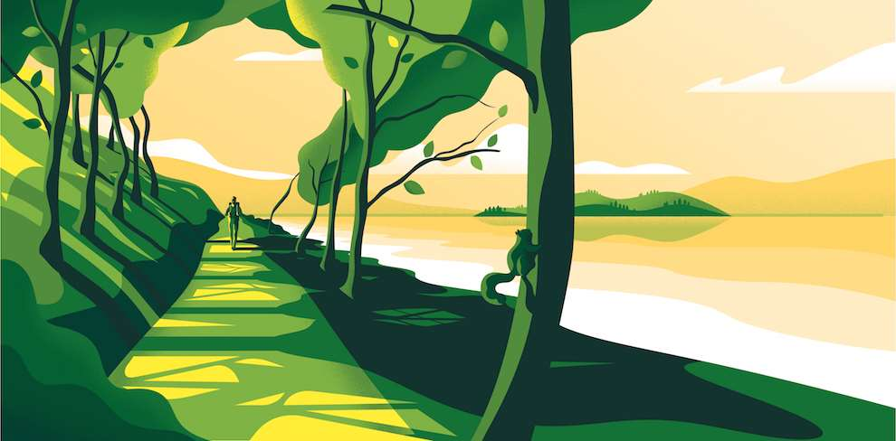 Jack Daly, Packaging Illustration of a green landscape for Loch Lomond Brewery.