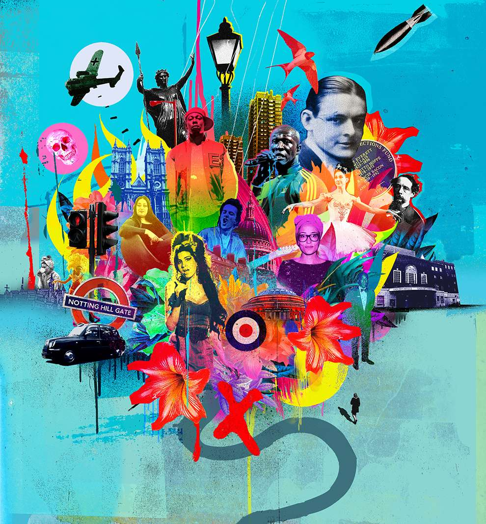 Tim Marrs, Painterly photo collage illustration of famous British artist and icons