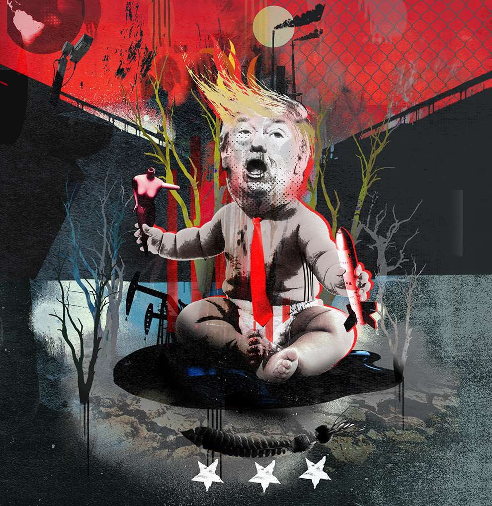Tim Marrs, Mixed media illustration of Trump dressed up as a baby playing with a bomb and a woman body
