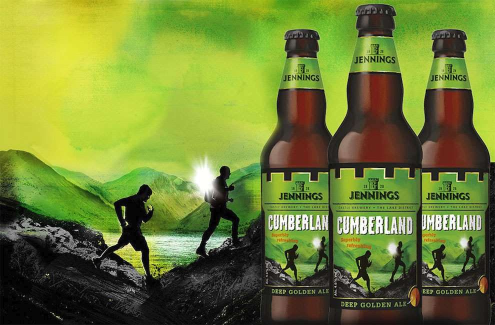 Tim Marrs, Vibrant mixed media illustration for beer packaging. Two runners in the mountains