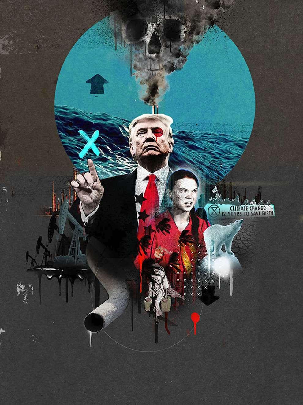 Tim Marrs, Photo collage and painterly brush elements illustration of trump against Greta Thunberg