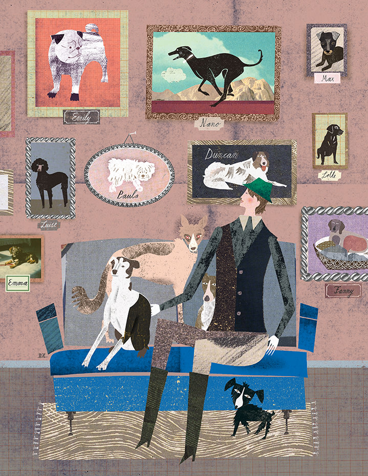 Martin Haake, Mix media layered illustration of the interior of a dog lover surrounded by dogs and dogs pictures