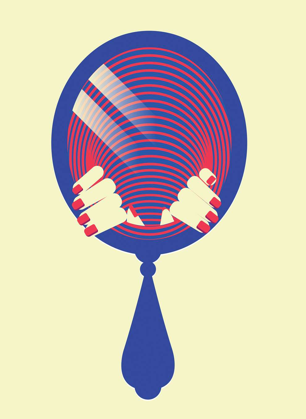Valentina  D'Efilippo, Bold and graphic illustration of two hands getting out a mirror
