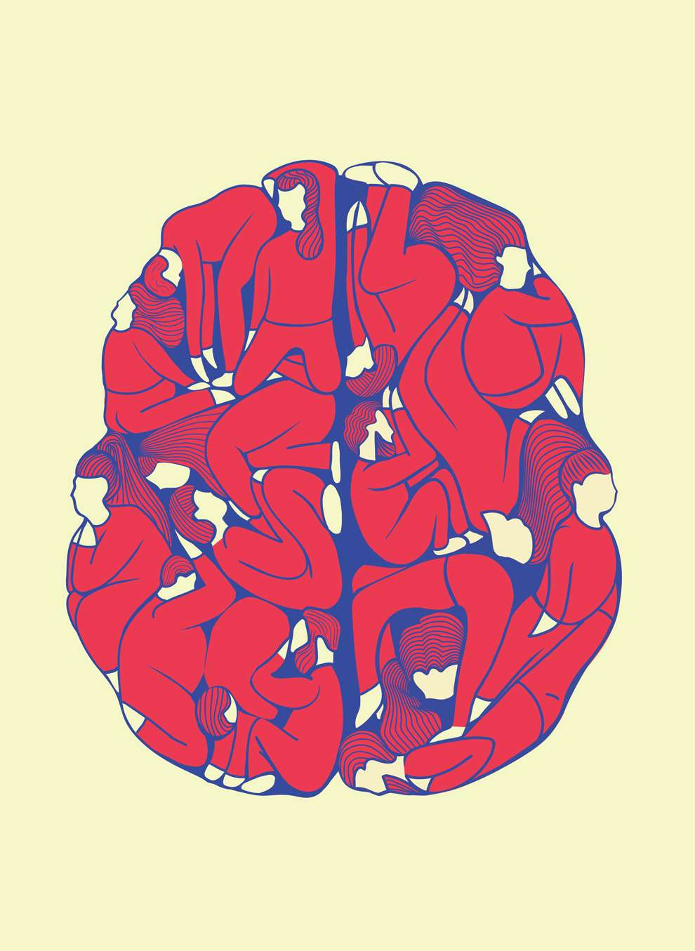 Valentina  D'Efilippo, Bold and graphic digital illustration of bodies composing a brain