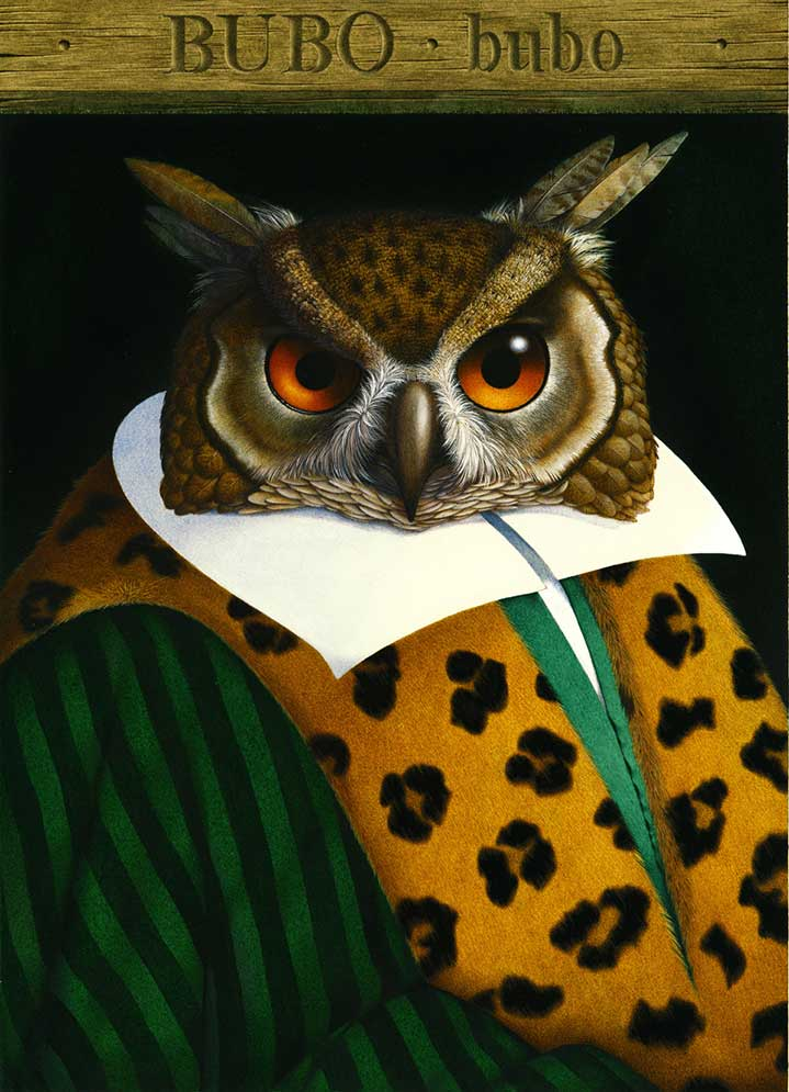 Carol Lawson, Hand-painted and textural illustration of an owl wearing a luxurious green and leopard coat.