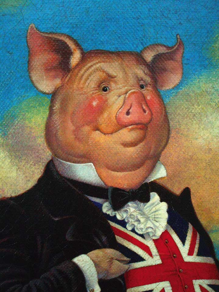 Carol Lawson, Hand-painted personified pig wearing a suit with the union jack flag