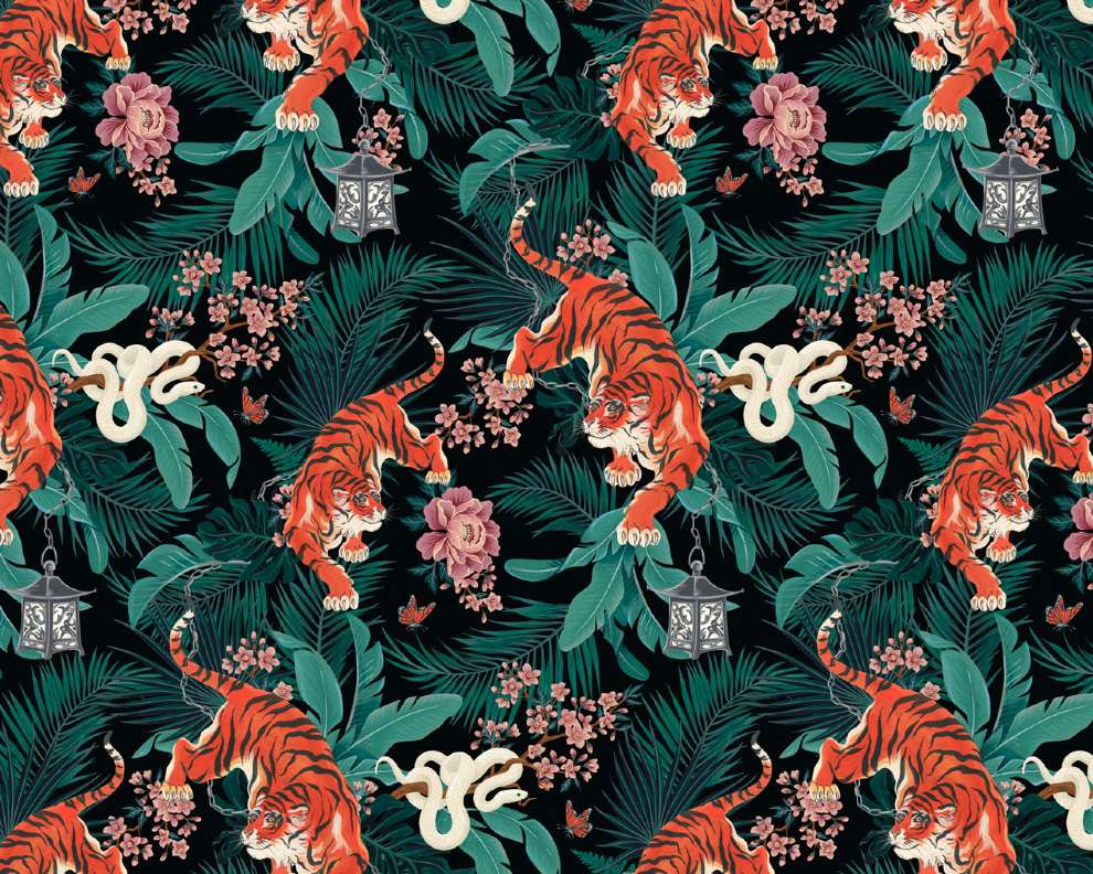 Charlotte Day, tiger and botanical pattern
