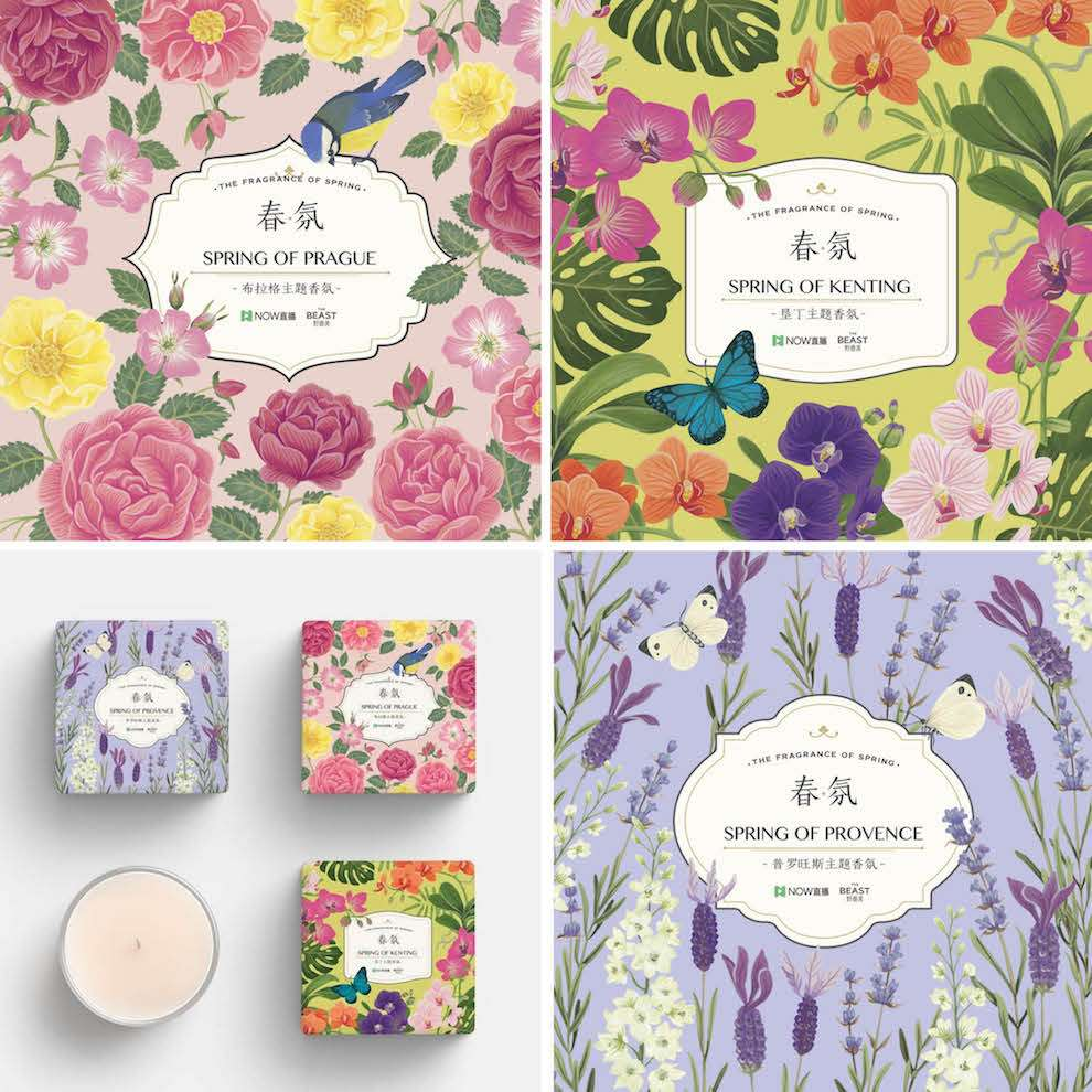 Charlotte Day, Handpainted nature scenery for candle packaging