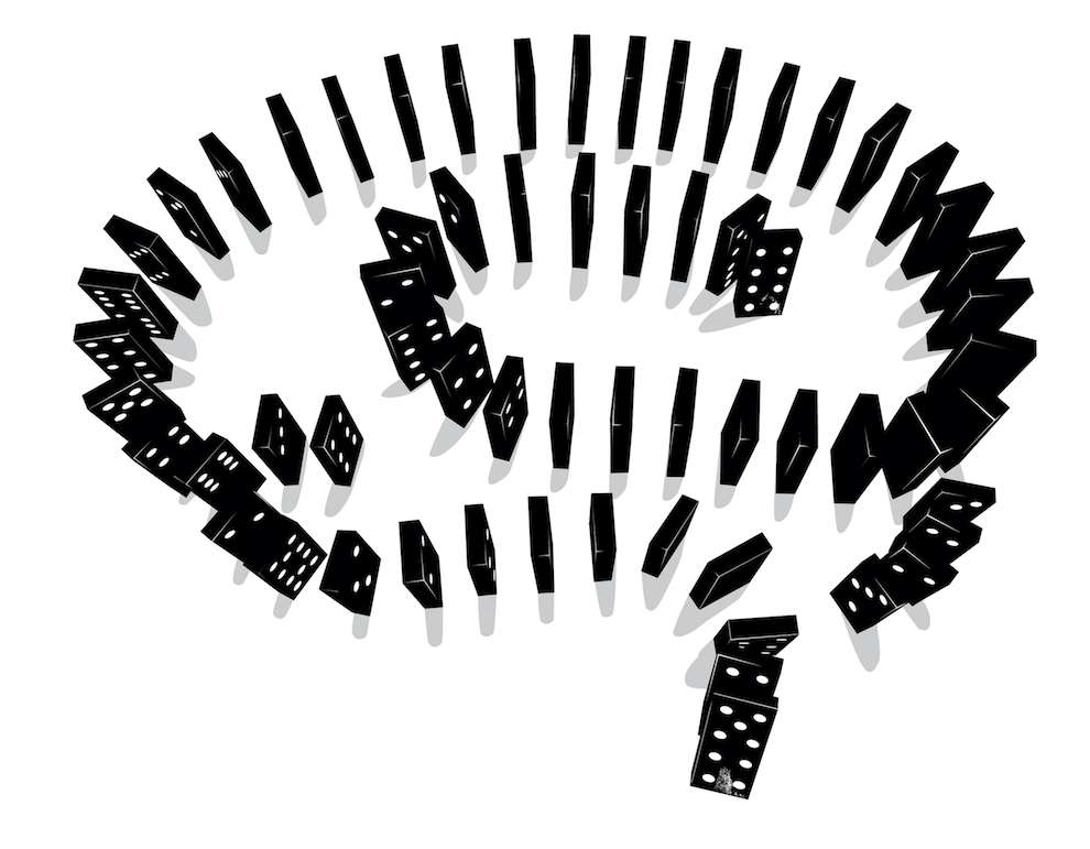 Ulla Puggaard, Black and white conceptual illustration of dominos shape as a brain
