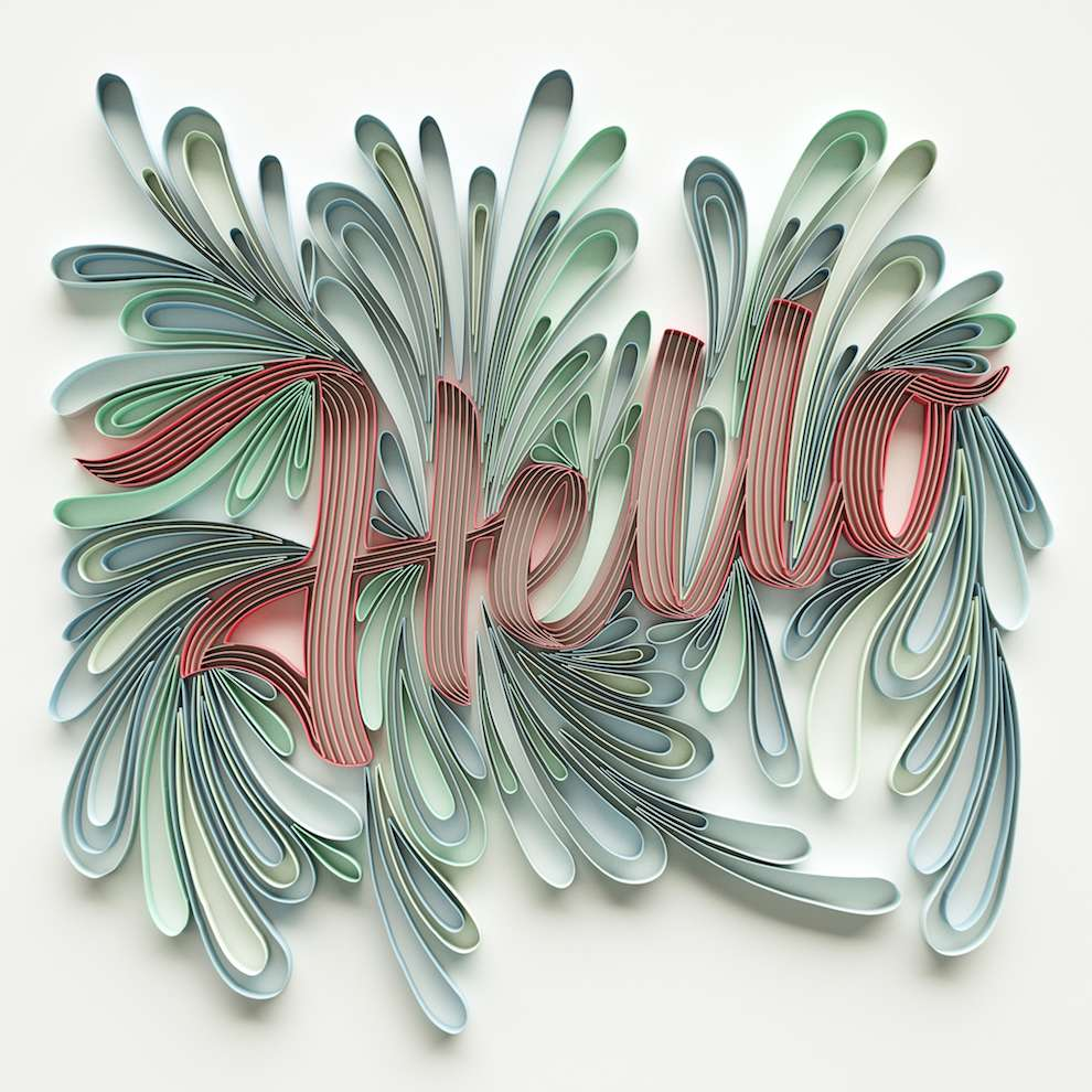 2&3, Curly line typography of the word 'hello'. CGI lettering render.