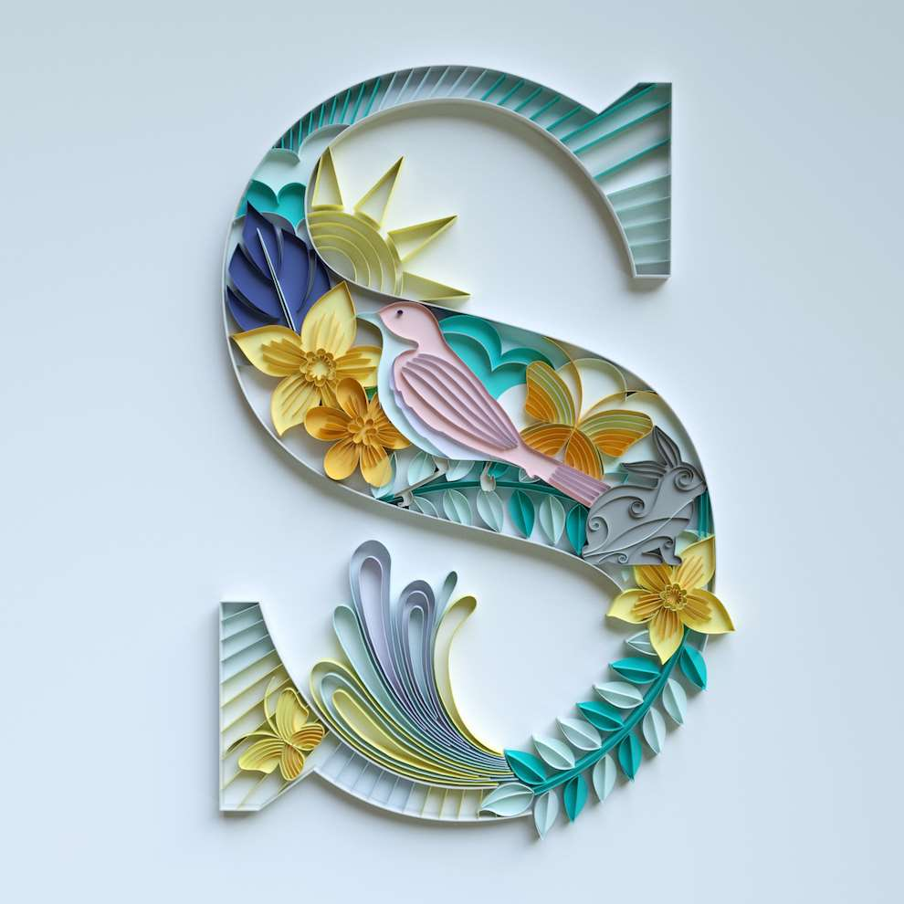 2&3, Quilling type CGI render of the letter S