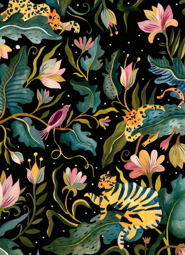 Aitch, Handpainted illustration.  Black background in contrast with delicate leaves and flower illustration with hidden tigers