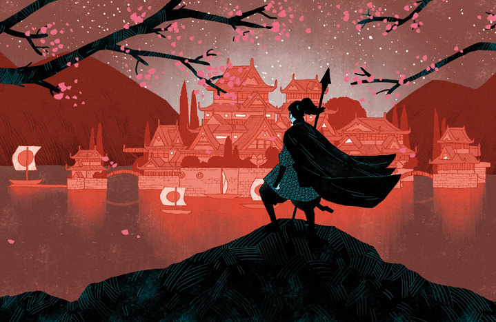 Coke Navarro, Digital illustration of Japanese landscape with a samurai