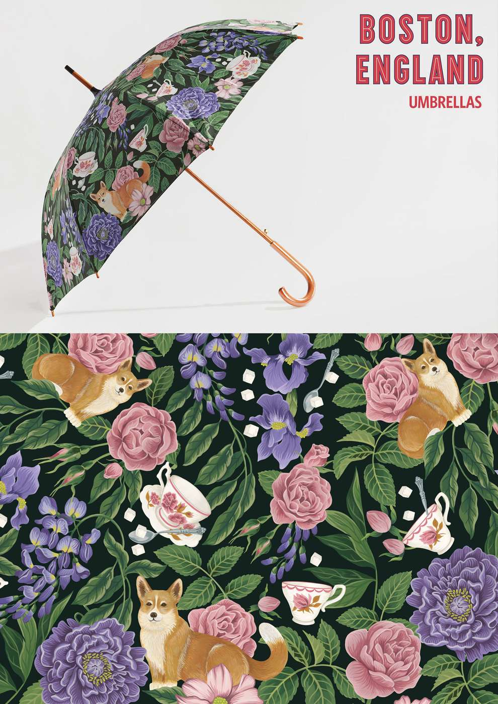 Charlotte Day, Floral umbrella pattern design. Pink and purple colour palette.