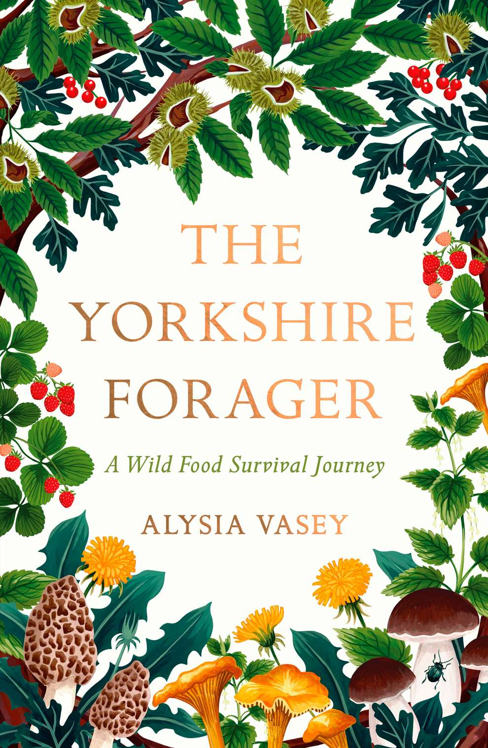 Charlotte Day, Yorkshire Forager Book Cover, with colourful and warm botanical details surrounding the orange text in the centre.