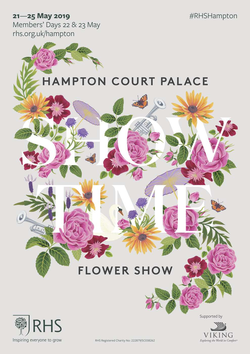 Charlotte Day, Hampton Court Palace Flower Show Poster, with floral detailed elements surrounding white lettering.