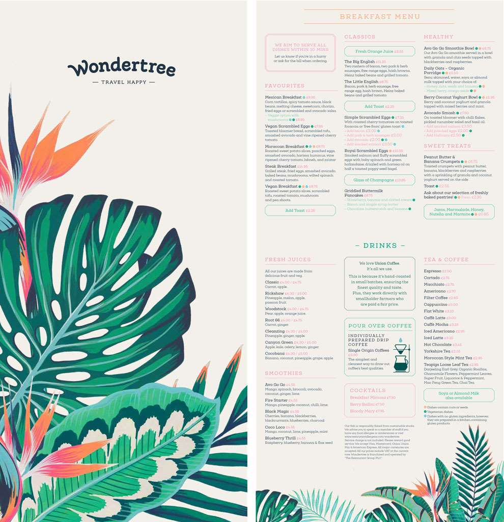 Charlotte Day, WonderTree Menu Design, with botanical elements, vibrant painterly style.