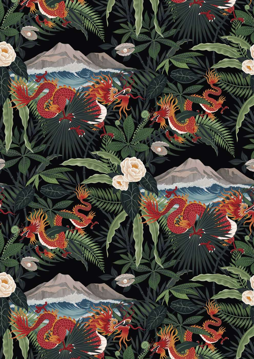 Charlotte Day, Botanical print with Chinese inspired dragon detail.