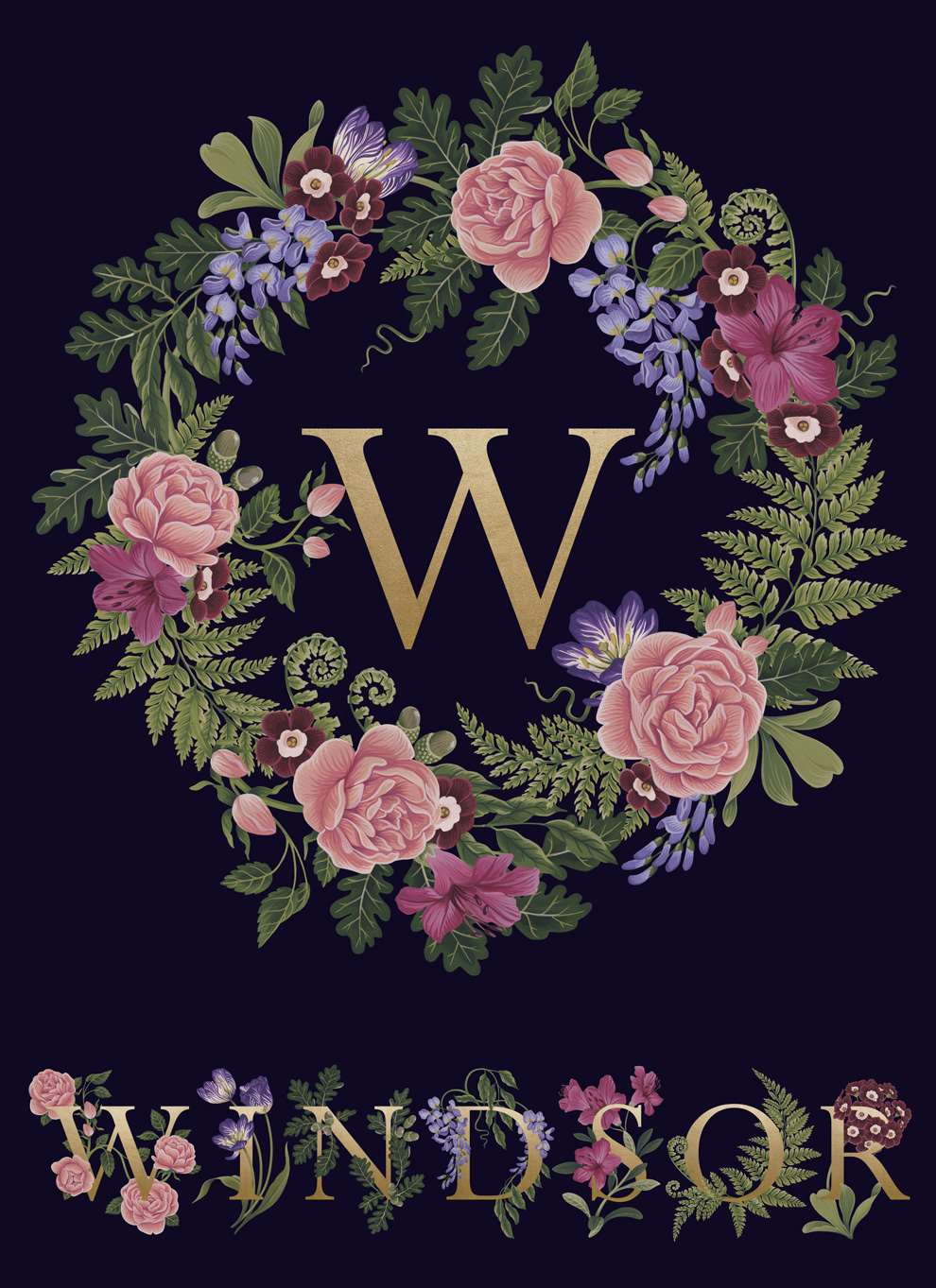 Charlotte Day, Gold lettering spelling WINDSOR with decorative botanical elements on a dark purple background
