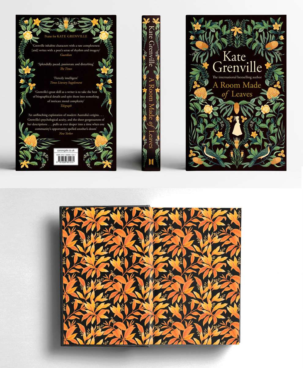 Charlotte Day, Book Cover Design with Botanical details, green and yellow on a black background.