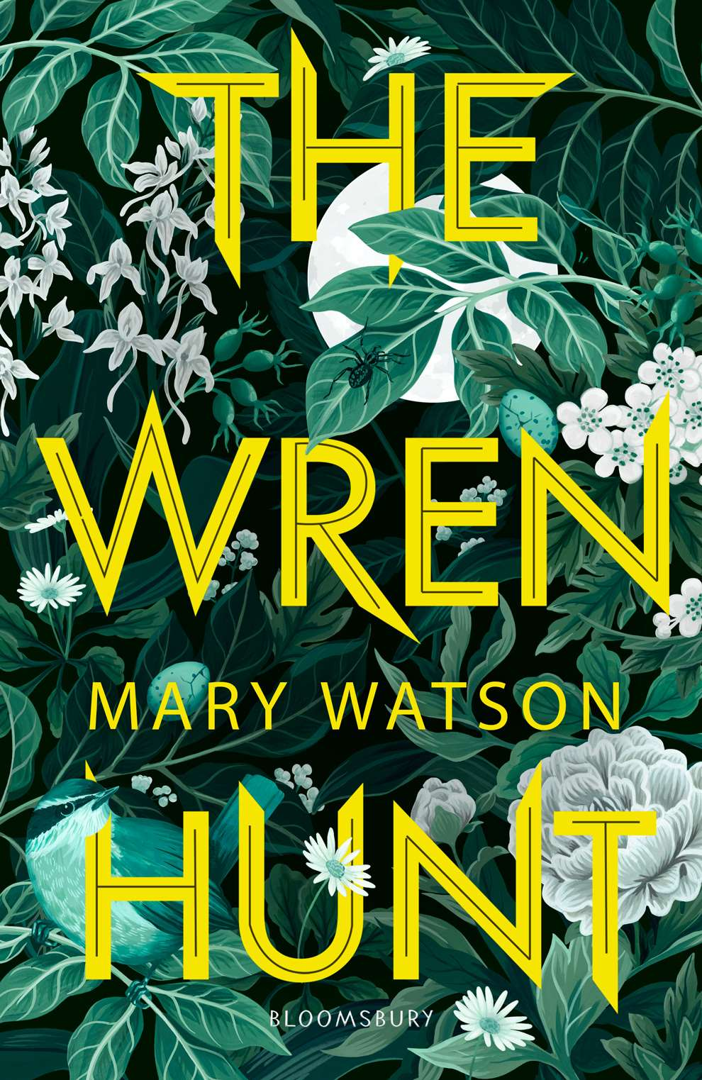 Charlotte Day, The Wren Hunt botanical book cover design, with painterly botanical background.