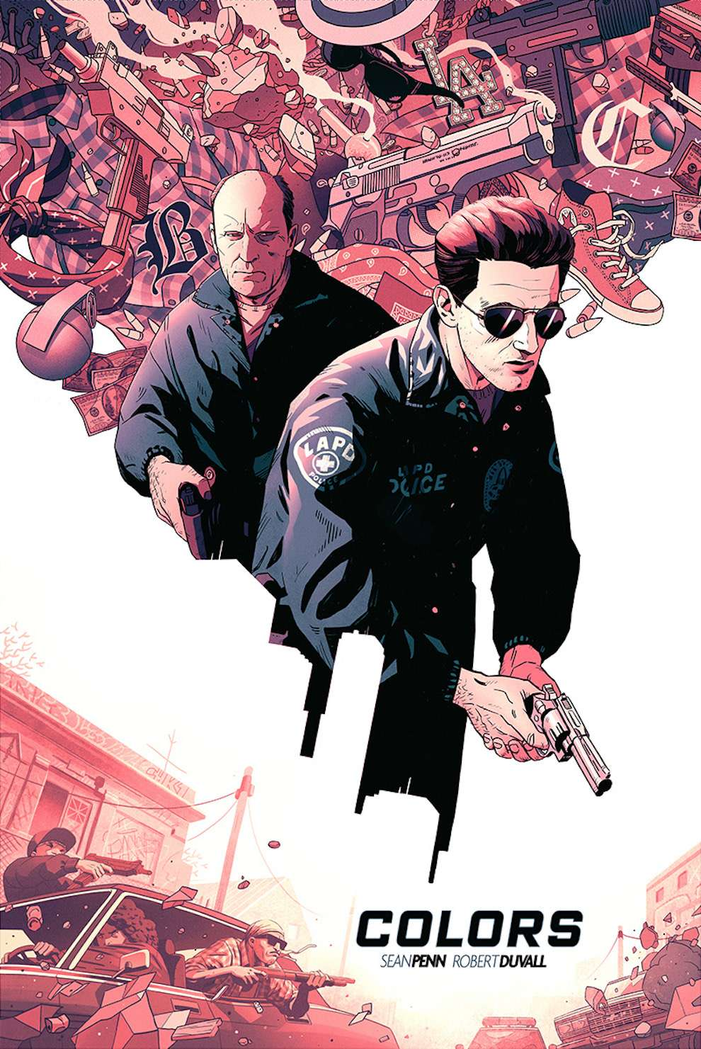 Coke Navarro, Conceptual poster art illustration for a game. Two policemen surrounded by gangster shooting out their car window