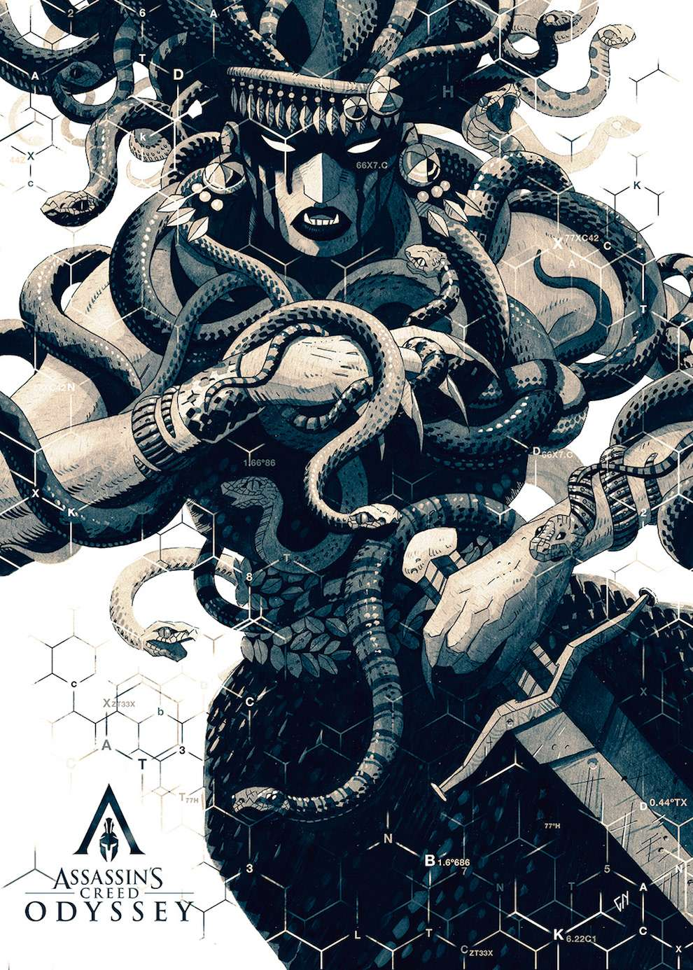 Coke Navarro, illustration of greek god medusa for video game assassin's creed