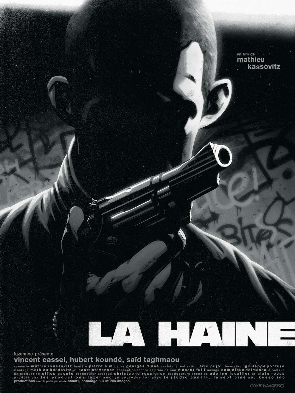 Coke Navarro, Dark film poster for the movie la haine. Actor Vincent Cassel in a shadow holding a gun