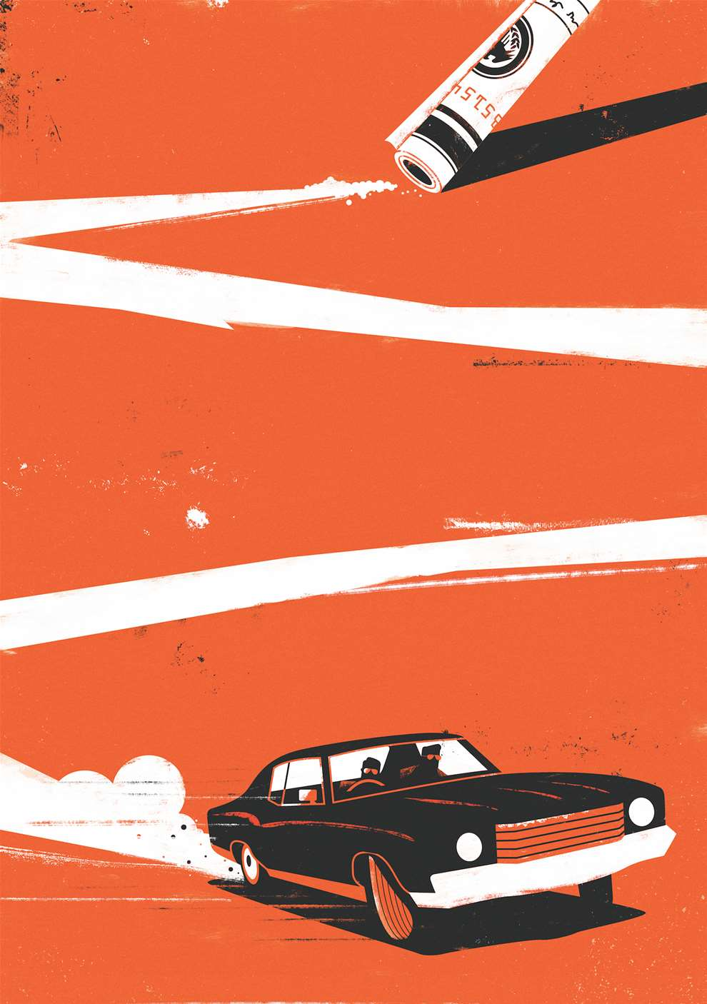 Dale Edwin Murray, Bright bold digital illustration of a car.