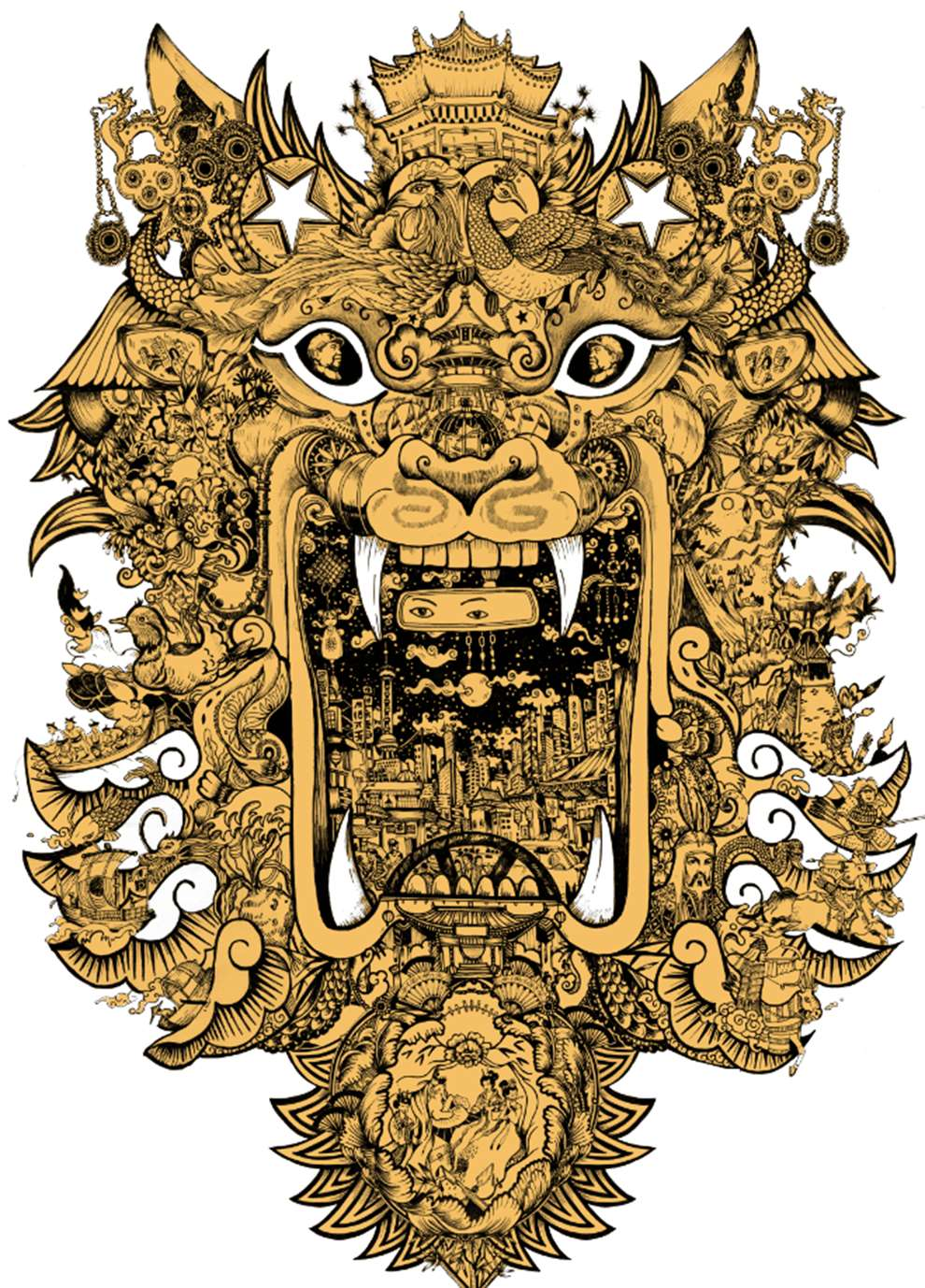 Good Wives and Warriors, decorative and ornaments gold tiger mask using elements of city and travel