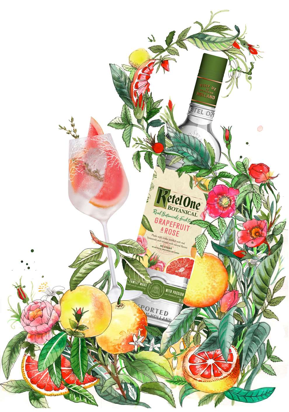 Good Wives and Warriors, Ketel One Botanical gin advert packaging Good Wives and Warriors