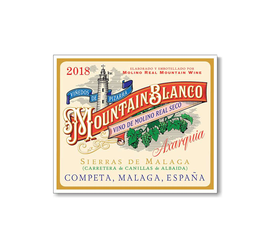 Peter Horridge, Mountains Blanco label, hand rendered typography, calligraphy