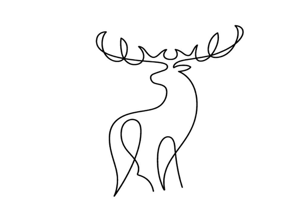 Peter Horridge, Black Line drawing of a deer