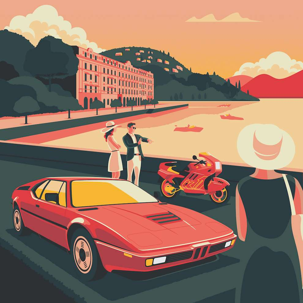 Jack Daly, Digital Illustration of a car in front of a lac