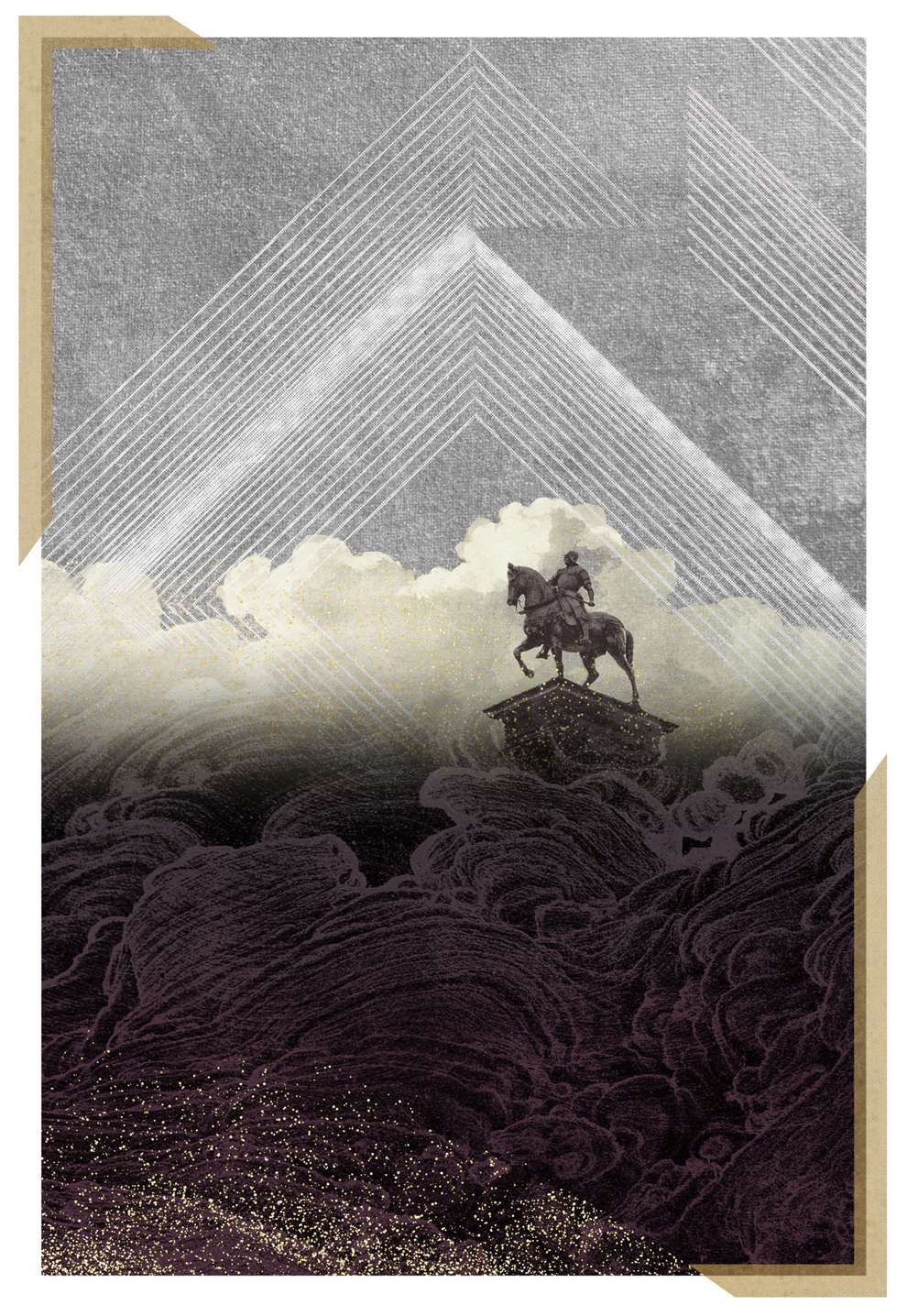 Jackie Parsons, smoky, dark illustration with small figure of a horse for perfume packaging