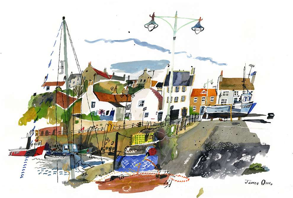 James Oses, Beautiful and delicate watercolour illustration of a port. Little houses in the background and boat alongside the quay