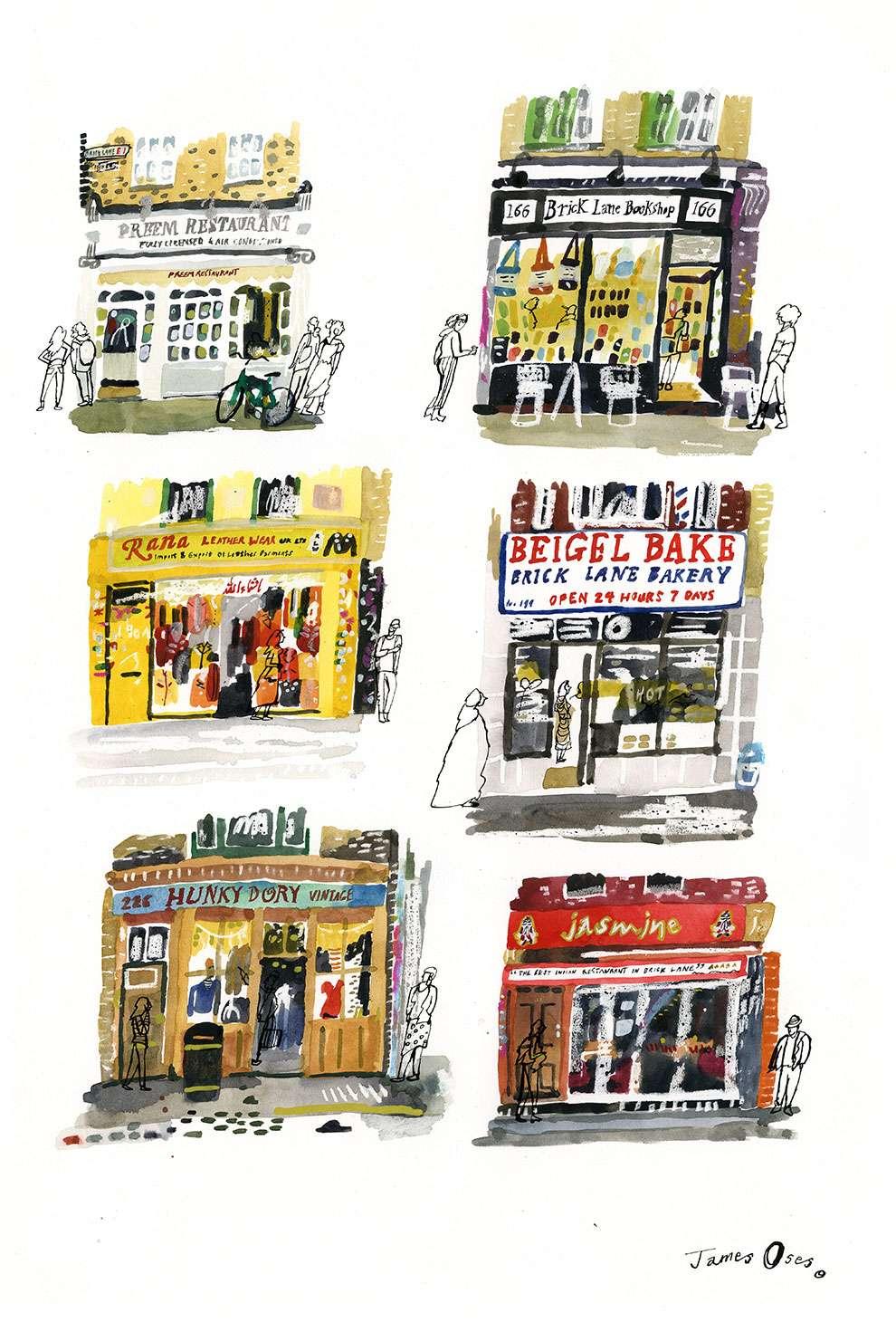 James Oses, Watercolour illustration of London famous shop windows