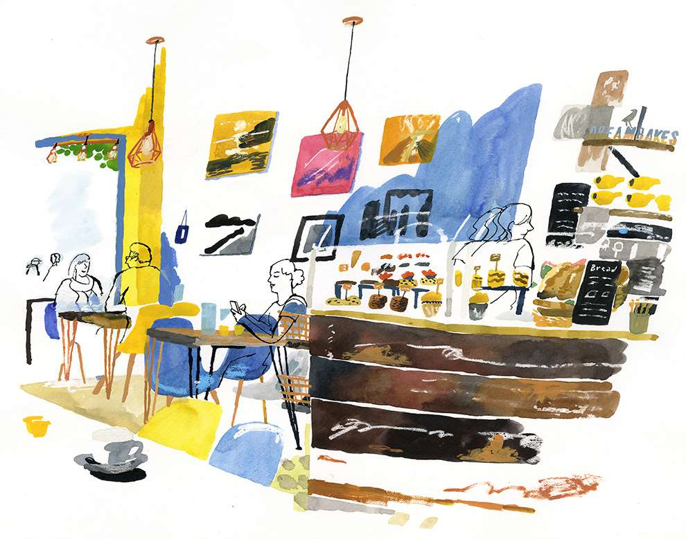 James Oses, Watercolour illustration of the inside of a coffee shop with people chatting