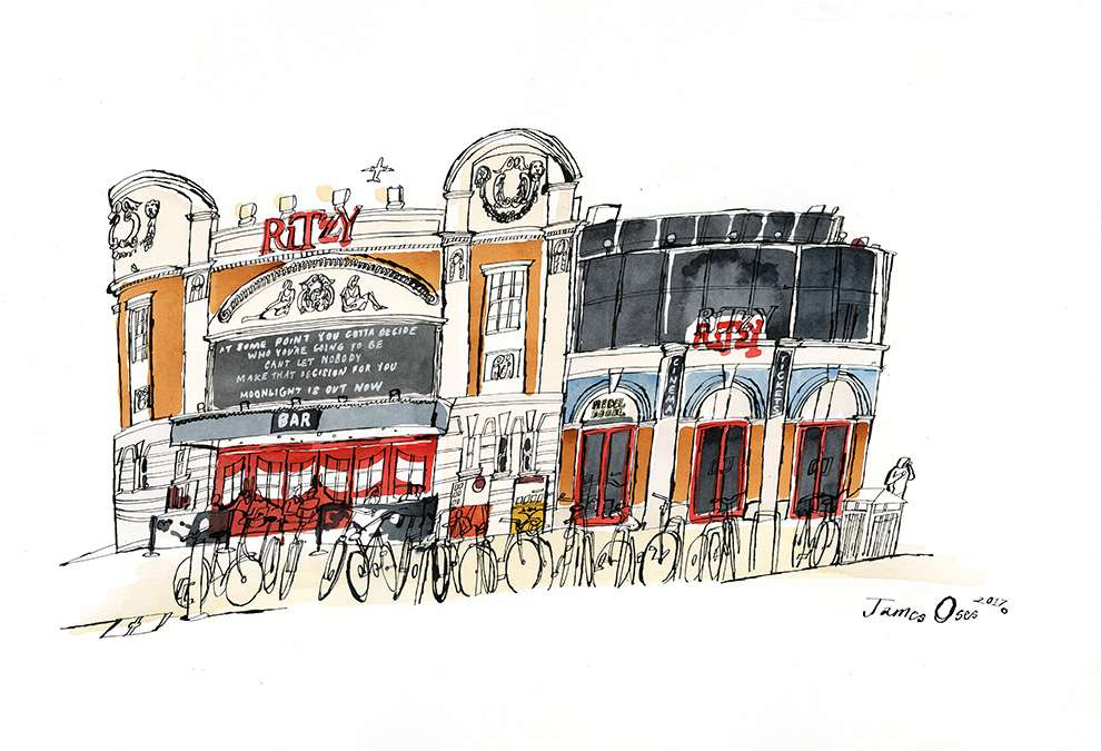 James Oses, Hand painted illustration of the Ritzy cinema building in Brixton