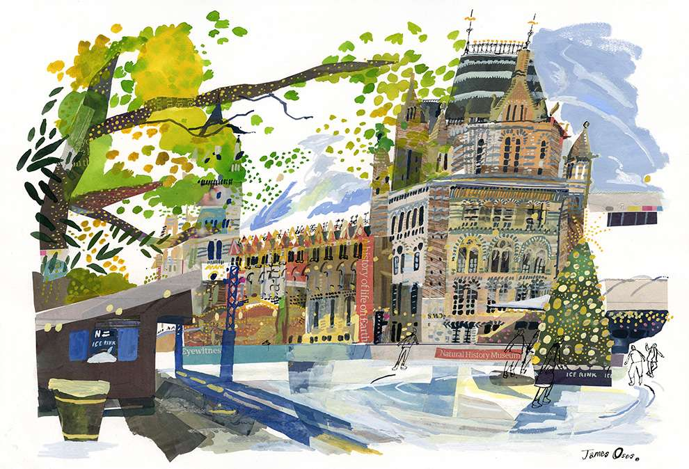 James Oses, Mixed media watercolour illustration with collage of the Natural History Museum and the ring glass in front of it. The Christmas decoration is up.