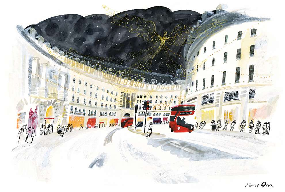 James Oses, Handpainted illustration of Oxford Street in London during winter.