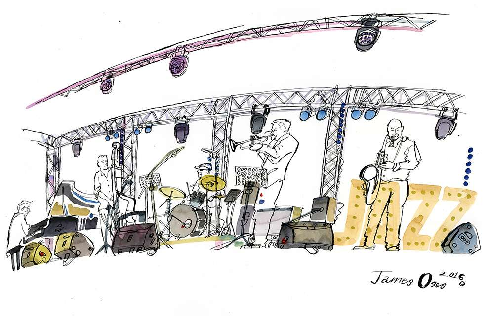 James Oses, Watercolour of a live band event