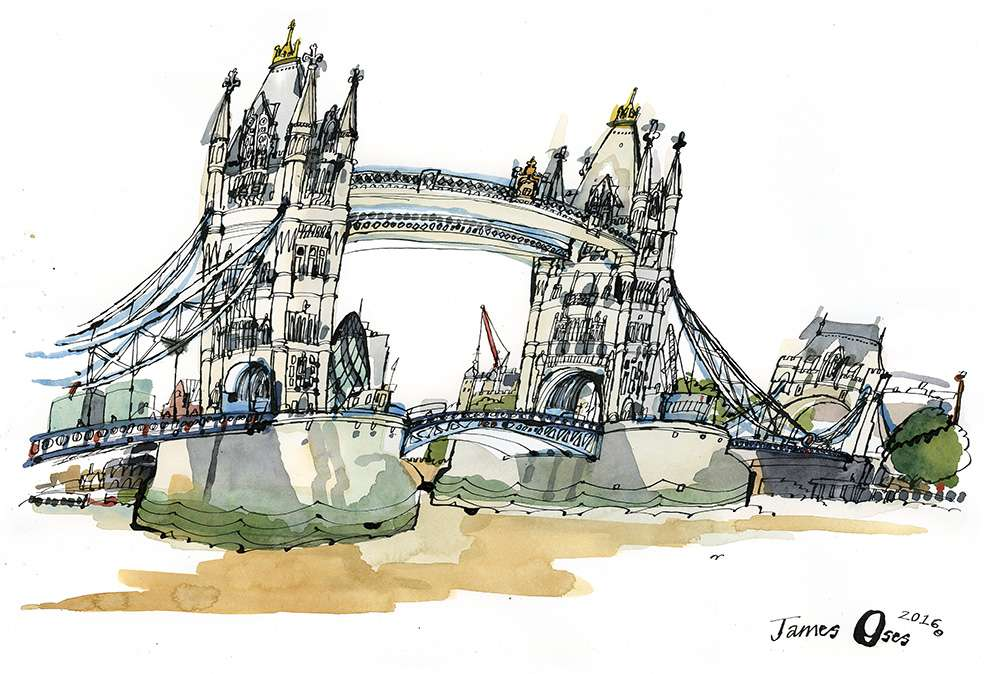 James Oses, Watercolour illustration of London Bridget with black outilne
