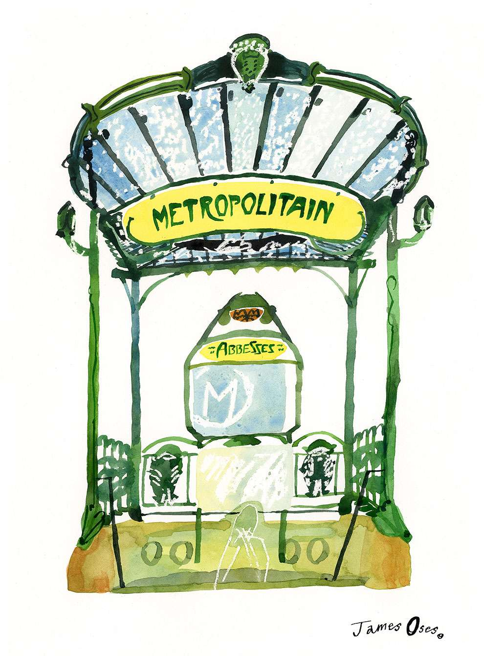 James Oses, Handpainted illustration of french tube station