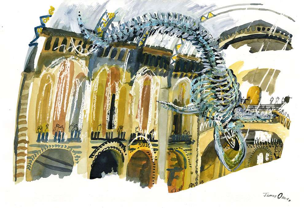 James Oses, Watercolour illustration of the inside of the Natural History Museum.