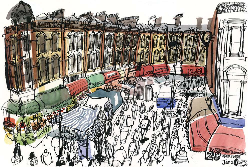 James Oses, Watercolour illustration of Brixton market