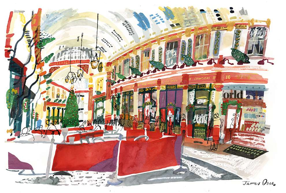 James Oses, Handpainted illustration of a Christmas market