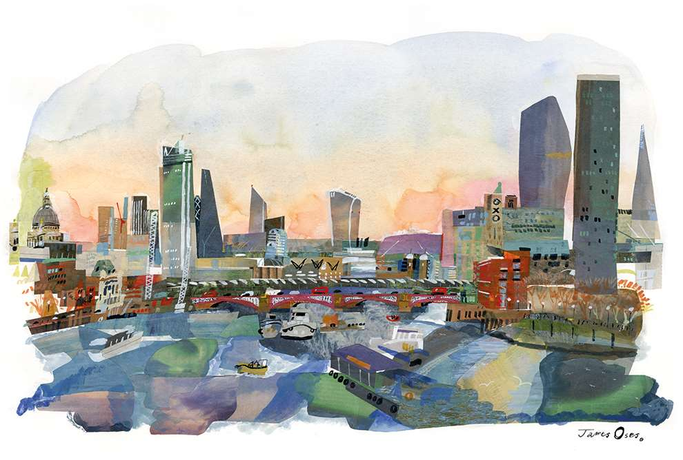 James Oses, Hand painted illustration of Waterloo Bridge