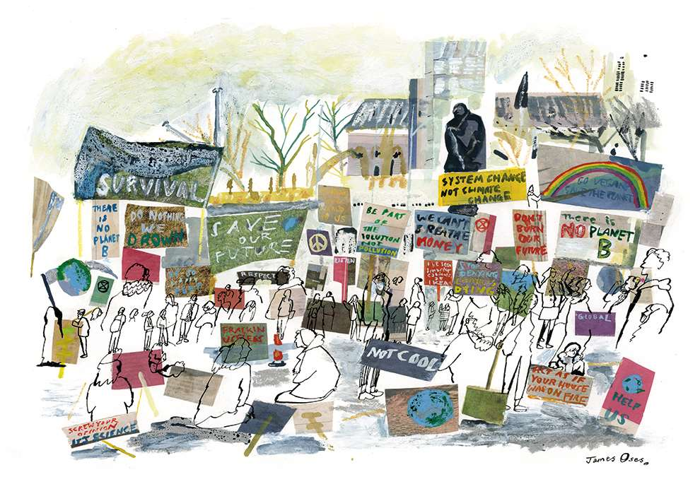 James Oses, Hand painted collaged illustration of a climate change protest.